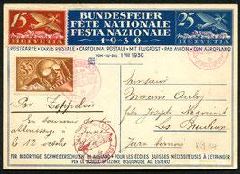 12.10.1930 Zeppelinpost Bern-Basel-Zürich LZ127 auf Bundesfeierkarte 1930