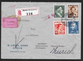 Pro Juventute 1941 schöner Satzbrief 22.12.1941 von Zürich nach Levoca, Slovakei
