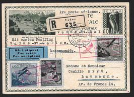 """1. Postflug Vaduz - St. Gallen auf Bildpostkarte """"Beatenberg"""""""