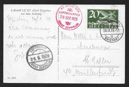 26.9.1929 1. Schweizer Fahrt 1929 Bordpost Solothurn, Briefamtnach St. Gallen
