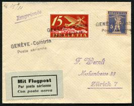Amtl. Provisorischer Stempel Nr. 4 Genf Cointrin auf FLP Brief nach Zürich 1925 in schwarz