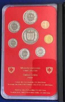 1997 Münzsatz Schweiz in PP (polierte Platte) Hartplastikverpackung und Etui