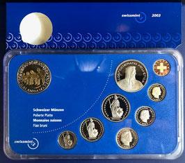 2003 Münzsatz Schweiz in PP (polierte Platte) Hartplastikverpackung, 5 Fr. Sondermünze Chalandamarz