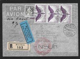 27.3.1937 FLP Brief von Menziken nach Porto Alegre, Brasilien via Basel, eingeschrieben