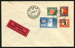1928 Pro Juventute FDC Basel 21.12.1928 auf unadressiertem Umschlag mit Befund Marchand