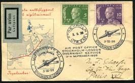 Schweden 3.9.1928 Nachtflug Stockholm - London nach Paris