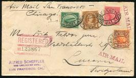 USA 23.9.1925 R-FLP Brief von San Francisco nach Luzern, Schweiz