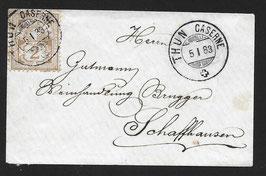 1882 Kreuz- und Wertziffer, Nr. 53 auf Drucksache nach Schaffhausen