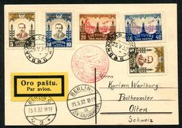 LITAUEN 25.5.1932 FLP-Karte von Kaunas nach Olten, Schweiz