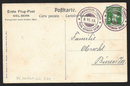 1913 Erste Flugpost Biel - Bern auf offiz. Karte nach Büren a/A.