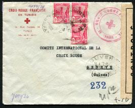 TUNESIEN 1935 FLP Brief vom Franz. Roten Kreuz in Tunis nach Genf doppelt zensuriert
