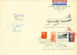 """Gedenkblatt 20.4.1952 Europarundflug mit Convair 240 """"HB-IRV"""""""