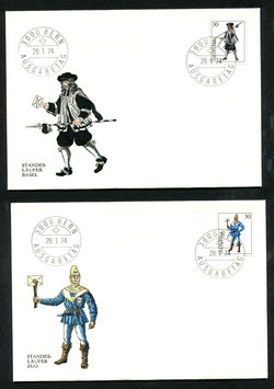 1974 INTERNABA Basel Einzelwerte aus dem Block auf offiz. FDC vom 29.1.1974