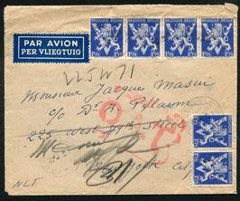 O.A.T. Stempel Typ 6 rot (London) auf FLP Brief von Belgien nach New York, USA