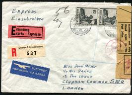 Historische Bilder 23.8.1949 FLP Brief von Luzern nach London, Grossbritannien Devisenzensur