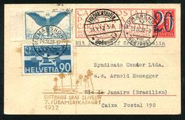 26./29.9.1932    7. Südamerikafahrt 1932 nach Rio de Janeiro, Brasilien auf PK mit Ueberdruck 20 auf 25 cts.