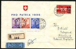 1.5.1937  RF 37.2 a St. Gallen - München mit Pro Patria Block W8 und orig. Unterschrift von Pilot Robert Fretz