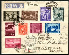 RUMÄNIEN 1937 FLP-Satzbrief von Bucarest nach Auvernier, Schweiz