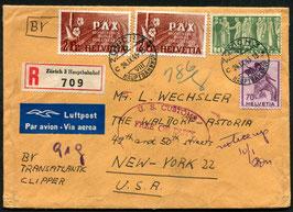 Historische Bilder 24.9.1945 Zürich eingeschrieben via Transatlantic Clipper nach New York, USA