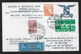 1935 Coupe Gordon Bennett Sonderflug Zürich-Warschau mit Ballon in den Kaukasus