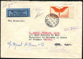 6.5.1935   FLP Brief von Zürich an einen  Passagier der MEONIA in Suez, Aegypten
