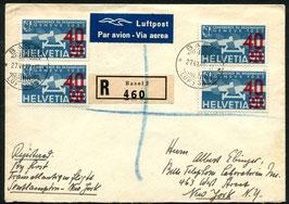 27.6.1939 FLP Brief von Basel nach New York mit der seltenen Aufdruckfarbe dunkelkarminrot mit Attest!