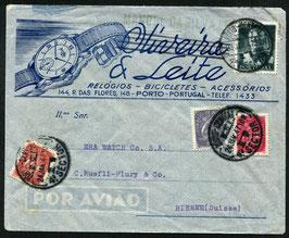 Portugal 23.1.1947 von Porto nach Biel auf illustriertem Umschlag