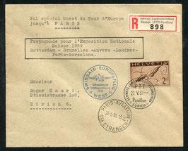 SF39.5 e. 22.5.1939 Swissair Europaflug West Etappe Paris mit F13z ABART verschobener Druck nach 1mm oben