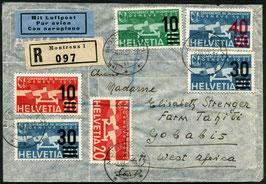 4.3.1937  FLP R-Brief von Montreux via Brindisi nach Gobabis, Süd West Afrika