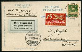 """Amtl. Provisorischer Stempel Nr. 8 Lausanne Blécherette auf AK """"Säntiskette"""" 1925"""