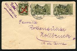 RF 19.1 nz   14.10.1919 FLP R-Brief geflogen Genf - Bern nach Zollbrück