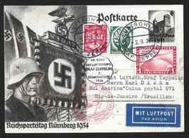 2.9.1934 Bordpost 7. Südamerikafahrt 1934 nach Rio de Janeiro, Brasilien auf Propagandakarte Reichsparteitag Nürnberg mit Attest Schlegel