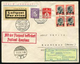 Dänemark 3.5.1926 Eröffnungsflug der neuen Linie Kopenhagen - Konstanz