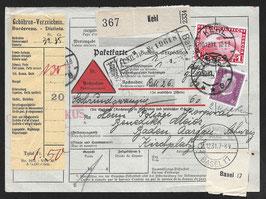 1931 Schöne Paketkarte von Kehl, Deutschland nach Baden, Aargau Zeppelinfrankatur