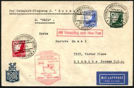 K207 26.9.1934 Katapultflug Dampfer Bremen - New Yorkund weiter nach Kansan, USA