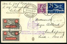 12./15.5.1931   Zeppelin Ostseejahr-Rundfahrt 1931 Abgabe Lübeck-Travemünde nach Linköping, Schweden!