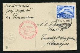 18.5./6.6.1930 Südamerikafahrt 1930 Etappe Friedrichshafen - Pernambuco mit Bordpoststempel entwertet und 2 RM Marke blau
