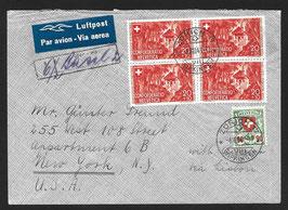 4.8.1941 FLP Brief von Zürich nach New-York mit Wappenmuster 163y + PP14 im VBL, Attest