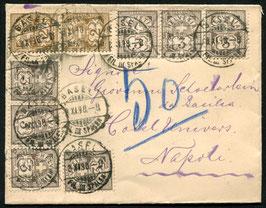8.11.1898 Basel wunderschöne Mehrfachfrankatur nach Napoli, Italien