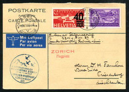 1.8.1937 4. Int. Flugmeeting Zürich SF Zürich-Sion auf Rückantwortkarte nach Liechtenstein Mischfrankatur