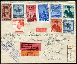 Rumänien   27.8.1939 FLP Brief als Express von Bukarest nach Zürich