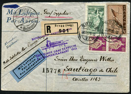 30.9./3.10.1933 8. Zeppelin Südamerikafahrt Anschlussflug ab Pernambuco nach Santiago de Chile, Chile