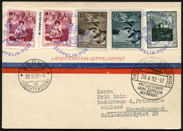28.6.1932 Zeppelin Schweizer-Fahrt Postaufnahme Vaduz Karte nach Kopenhagen, Dänemark