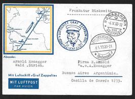 6./9.5.1933 1. Südamerikafahrt 1933 auf schöner Karte der Lufthansa nach Buenos Aires, Argentinien