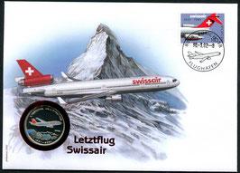 30.3.2002 Letzter Tag des Namens SWISSAIR danach neu SWISS - Letztflug