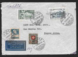 Zürich 3.8.1940 schöner LATI-Brief (40gr.) nach Buenos Aires, Argentinien mit CHF 17.30 Frankatur mit Befund Bach
