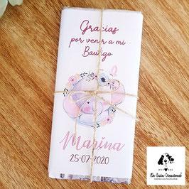 Tableta de chocolate Bautizo elefante rosa
