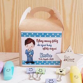 Caja con asa comunión niño traje azul