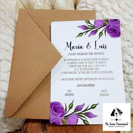 Invitación flores lilas