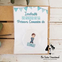 Chapa comunión de 3,8cm con tarjeta colección banderines chico